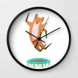 Trampolining Fox Wall Clock