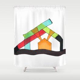 Bright Light Architectural Illustration Shower Curtain