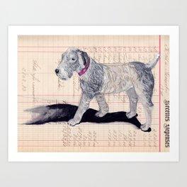Vintage Celluloid Dog in Gouache Art Print