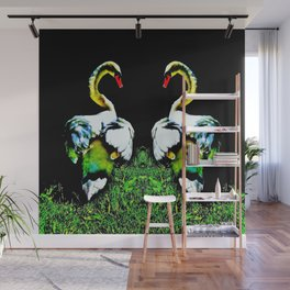 Swans Couple White Black Wall Mural