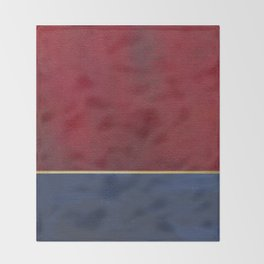Deep Blue, Red And Gold Abstract Painting Throw Blanket