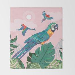 Treetop Parrots Throw Blanket