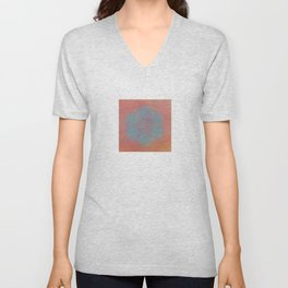 Turquoise Mandala On Terracotta Unisex V-Neck