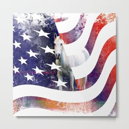 White Horse And American Flag By Annie Zeno Metal Print