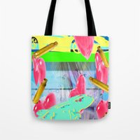 vendetta Tote Bags featuring vacation vendetta by astral eyes