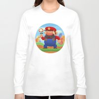 mario Long Sleeve T-shirts featuring Mario by Gazulo Marquez