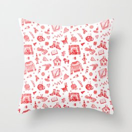 Cozy Hygge Elements in Red + White Throw Pillow