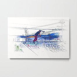 Spinning the Deck - Trick Scooter Sports Art Metal Print