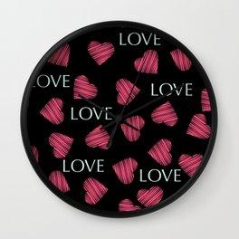 hearts pattern retro texture Wall Clock