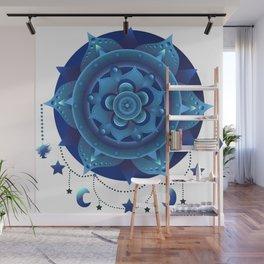 Blue monochromatic mandala dream catcher Wall Mural