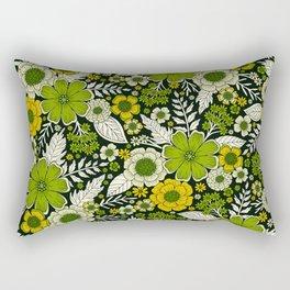 Modern Yellow & Green Floral Pattern Rectangular Pillow