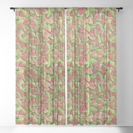 Sour Watermelon Gummy Candy Photo Pattern Sheer Curtain
