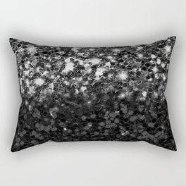 Black & Silver Glitter Gradient Rectangular Pillow