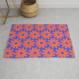 Crayon Flowers 2 Cheerful Smudgy Floral Pattern in Coral and Bright Blue Rug