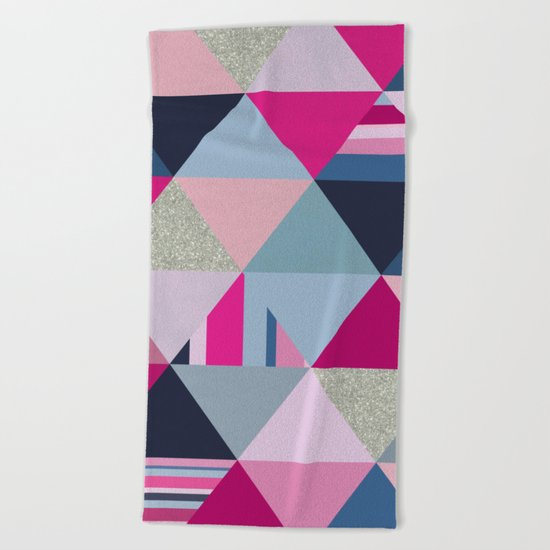 Pink, Blue and Silver Triangles Beach Towel