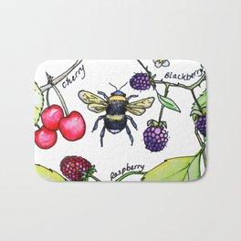 British summer berries and bee Bath Mat