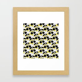 Black and yellow pattern . Cherry . Framed Art Print