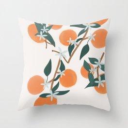 Cream Citrus Blooms Throw Pillow