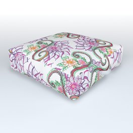 Modern Hand Painted Colorful Watercolor Flowers Outdoor Floor Cushion