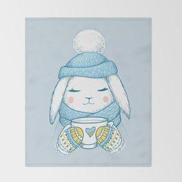 Winter Rabbit Throw Blanket
