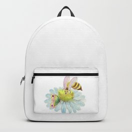 Bee Butterfly on a Blue Flower Backpack
