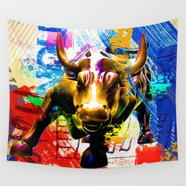 Wall Street Bull Painted Wall Tapestry