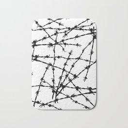 Black and White Barbed Wire Bath Mat