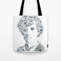 cumberbatch Tote Bags featuring Benedict Cumberbatch by Ron Goswami