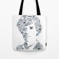 benedict cumberbatch Tote Bags featuring Benedict Cumberbatch by Ron Goswami