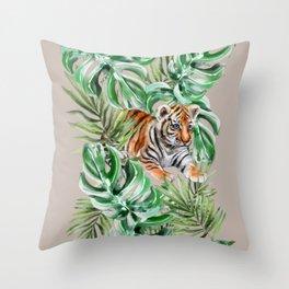 Little Hunter | Baby Tiger Safari Nursery Design Throw Pillow