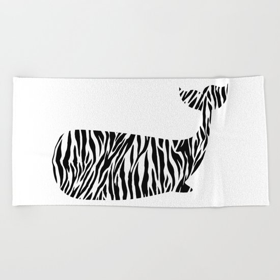 Whale with zebra print Beach Towel