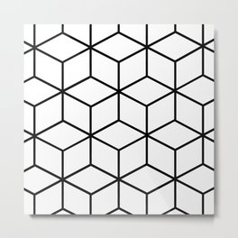 Black and White - Geometric Cube Design I Metal Print
