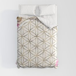 Flower of Life Rose Garden Gold Comforters