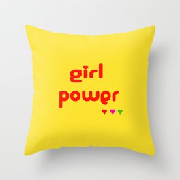 Retro Girl Power Throw Pillow