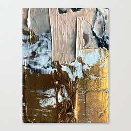Compelling: a minimal, abstract mixed-media piece in gold, pink, black and white by Alyssa Hamilton Canvas Print