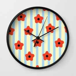 Poppies & Stripes Wall Clock