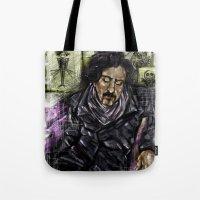 tim burton Tote Bags featuring Mr. Burton by Carol Wellart