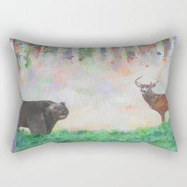 The relationship between a bear and a deer Rectangular Pillow