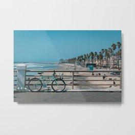 Blue Beach Bike Metal Print