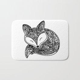 Black and White Mandala Fox Design Illustration Bath Mat