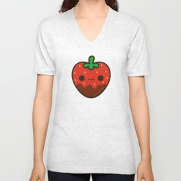 Cute chocolate dipped strawberry Unisex V-Neck