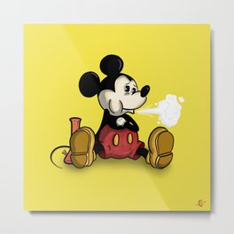 MickeyMouse Smoking Metal Print
