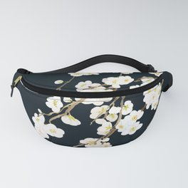 white plum flowers blossom in black background watercolor Fanny Pack