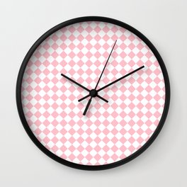 Small Diamonds - White and Pink Wall Clock