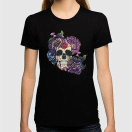 Day of the dead skull with flowers T-shirt