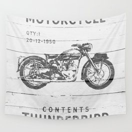Vintage Triumph Thunderbird Motorcycle Wall Tapestry