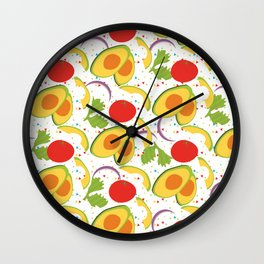 Fiesta Party Salad Avocado Tomatoes Cilantro Onions Wall Clock