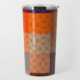 RED AND BROWN TONES - BLOCKS AND WEAVE PATTERN Travel Mug