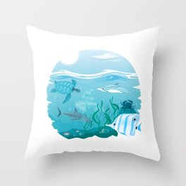 Tropical Marine Life Throw Pillow