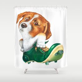 A little dog in a spike Shower Curtain